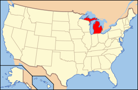 Map of the United States of America USA showing the location of Michigan.