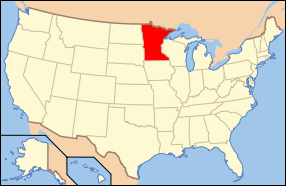 Map of the United States of America USA showing the location of Minnesota.