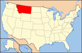 Map of the United States of America USA showing the location of Montana.