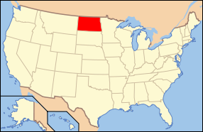 Map of the United States of America USA showing the location of North Dakota.