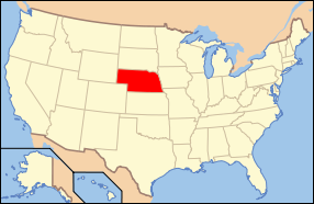 Map of the United States of America USA showing the location of Nebraska.