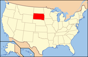 Map of the United States of America USA showing the location of South Dakota.