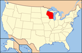 Map of the United States USA showing location of the state of Wisconsin.