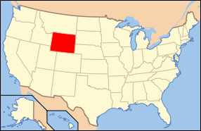 Map of the United States of America USA showing the location of Wyoming.